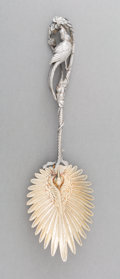 Silver & Vertu:Flatware, A Fine American Partial Gilt Silver Serving Spoon with Avian Motifs Attributed to Whiting, circa 1870-1880. Marks: STERLIN...