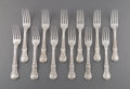 Silver & Vertu:Flatware, Twelve Paul Storr George III Coburg Pattern Silver Dinner Forks, London, England, 1813. Marks: (lion passant), (... (Total: 12 Items)