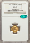 Commemorative Gold, 1922 G$1 Grant Gold Dollar, With Star, MS65 NGC. CAC....