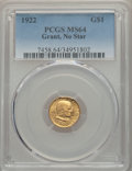 Commemorative Gold, 1922 G$1 Grant Gold Dollar, No Star, MS64 PCGS....
