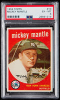 Baseball Cards:Singles (1950-1959), 1959 Topps Mickey Mantle #10 PSA EX-MT 6.. ...