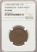 Colonials, 1795 1/2 P Washington North Wales Halfpenny, Plain Edge, One Star at Each Side of Harp VF30 NGC. NGC Census: (5/13). PCGS P...