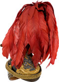 Militaria:Helmets, Superb British Victorian-Era 12th (Prince of Wale's) Royal Lancers Officers' Model 1874 Cap Complete With Red Feather Plume....
