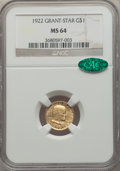 Commemorative Gold, 1922 G$1 Grant Gold Dollar, With Star, MS64 NGC. CAC....