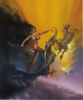 Illustration:Science Fiction, BORIS VALLEJO (American b.1941) . Night, 1989, originalMythology calendar illustration . Oil on board . 23-1/2 x19...