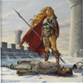 Illustration:Science Fiction, LARRY ELMORE (American b.1948) . Death of Sturm, originalillustration . Acrylic on board . 19 x 19in. . Signed lower le...
