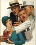 Paintings, LESLIE THRASHER (American 1889 - 1936) . Crowd at a Baseball Game, original magazine illustration, circa 1920s . Oil on ... (Total: 1 Item)