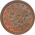 1854 1/2 C C-1, B-1, R.1, MS66 Red and Brown NGC. CAC