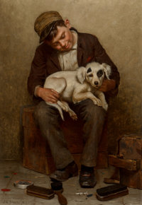John George Brown (American, 1831-1913) The Bootblack's Best Friend Oil on canvas 24-1/4 x 16 inc