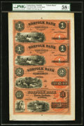 Obsoletes By State:Connecticut, Norfolk, CT- Norfolk Bank $1-$1-$2-$3 18__ X1 Uncut Sheet. ...