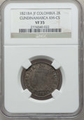 Colombia, Colombia: Cundinamarca. Republic 2 Reales 1821 Ba-JF VF35 NGC,...