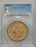 1872-S $20 AU53+ PCGS Secure. PCGS Population: (188/430 and 1/1+). NGC Census: (284/1064 and 0/6+). CDN: $1,350 Whsle. B...