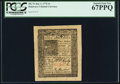 Colonial Notes:Delaware, Delaware January 1, 1776 4s PCGS Superb Gem New 67PPQ.. ...