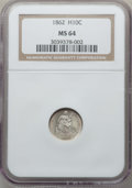 Seated Half Dimes: , 1862 H10C MS64 NGC. NGC Census: (171/163). PCGS Population: (153/187). MS64. Mintage 1,492,550. ...