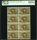 Fractional Currency:Second Issue, Fr. 1288 25¢ Second Issue Block of Eight PCGS Choice About New 58PPQ.. ...