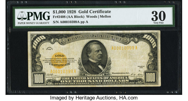 Fr. 2408 $1,000 1928 Gold Certificate. PMG Very Fine 30.. ... Small ...