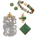 Estate Jewelry:Lots, Jadeite Jade, Nephrite Jade, Gold, Sterling Silver Jewelry . ...(Total: 5 Items)