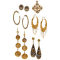 Estate Jewelry:Lots, Multi-Stone, Seed Pearl, Gold, Silver, Yellow Metal Earrings. ... (Total: 6 Items)