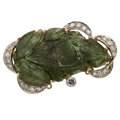 Estate Jewelry:Brooches - Pins, Tourmaline, Diamond, Gold Brooch-Clasp. ...