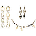 Estate Jewelry:Lots, Cultured Pearl, Onyx, Gold Jewelry. ... (Total: 3 Items)