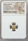 Ancients:Greek, Ancients: MYSIA. Cyzicus. Ca. 450-350 BC. EL sixth stater or hecte(2.50 gm). NGC VG 5/5 - 4/5....