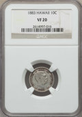 Coins of Hawaii , 1883 10C Hawaii Ten Cents VF20 NGC. NGC Census: (14/473). PCGS Population: (35/776). CDN: $85 Whsle. Bid for problem-free N...