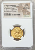 Ancients:Byzantine, Ancients: Maurice Tiberius (AD 582-602). AV lightweight solidus of22 siliquae (4.02 gm). NGC MS 3/5 - 4/5, graffito....
