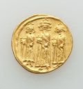 Ancients:Byzantine, Ancients: Heraclius (AD 610-641), with Heraclius Constantine andHeraclonas. AV solidus (4.46 gm). About XF....