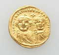 Ancients:Byzantine, Ancients: Heraclius (AD 610-641), with Heraclius Constantine. AVsolidus (4.46 gm). Choice XF, die shift....