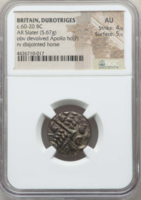 Ancients: BRITAIN. Durotriges. Ca. 65 BC-AD 45. BI stater (5.67 gm).NGC AU 4/5 - 5/5