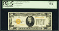Small Size:Gold Certificates, Fr. 2402* $20 1928 Gold Certificate Star. PCGS About New 53.. ...