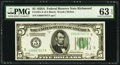 Fr. 1951-E $5 1928A Federal Reserve Note. PMG Choice Uncirculated 63 EPQ
