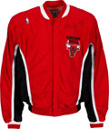 Basketball Collectibles:Uniforms, 1994-95 Ron Harper Game Worn & Signed Chicago Bulls WarmupUniform....