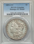 Morgan Dollars: , 1891-CC $1 -- Damage -- PCGS Genuine. AU Details. NGC Census: (71/5307). PCGS Population: (190/16115). CDN: $200 Whsle. Bid...