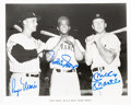 Baseball Collectibles:Photos, Early 1980's Roger Maris & Mickey Mantle Signed Photograph withWillie Mays. . ...