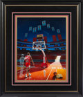 "Basketball Collectibles:Others, 1990's Michael Jordan ""When the Loudest Cheer Stopped"" Original Artwork by Tim Spransy. . ..."