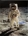 "Explorers:Space Exploration, Buzz Aldrin Signed Large Lunar Surface ""Visor"" Color Photo Originally from His Personal Collection...."