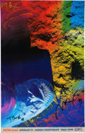 """Explorers:Space Exploration, Buzz Aldrin and Peter Max Signed """"Apollo 11 - Moon Footprint 1969/1999"""" Print, Originally from Aldrin's Personal Collection...."""