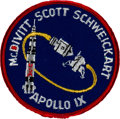 Explorers:Space Exploration, Apollo 9 Flown Embroidered Mission Insignia Patch Originally from the Personal Collection of Mission Commander Jim McDivitt, S...