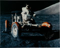 Explorers:Space Exploration, Gene Cernan Signed Large Apollo 17 Lunar Surface LRV Color Photo, with Novaspace COA....