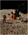 Explorers:Space Exploration, Apollo 17 Crew-Signed Large Lunar Surface Flag Salute Color Photo Originally from the Personal Collection of Mission Commander...