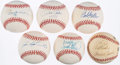 Autographs:Baseballs, Hall of Fame & Greats Single Signed Baseball Lot of 6 withJackson, F. Robinson, and Others.. ...