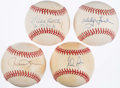 Autographs:Baseballs, Baseball Hall of Fame Single Signed Baseball Lot of 4 with Ryan,Carlton and others.. ...