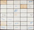 Autographs:Index Cards, Baseball Stars Signed Index Cards Lot of 137. . ...