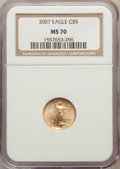 Modern Bullion Coins, 2007 $5 Tenth-Ounce Gold Eagle MS70 NGC. NGC Census: (2211). PCGS Population: (39). Mintage 190,010. ...