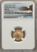 Modern Bullion Coins, 2015 $5 Tenth-Ounce Gold Eagle, Early Releases, MS70 NGC. NGC Census: (0). PCGS Population: (2731)....