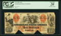 Confederate Notes:1861 Issues, T22 $10 1861 PF-1 Cr. 151 PCGS Very Fine 20, COC. . ...