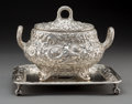 Silver & Vertu:Hollowware, A Dominick & Haff Silver Floral Repoussé Covered Sauce Tureen and Squared Salver, New York, New York, circa 1881. Marks: S... (Total: 2 )