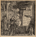 Prints & Multiples, Reginald Marsh (American, 1898-1954). Tattoo--Shave--Haircut (tenth state), 1932. Etching on Rives paper. 9-7/8 x 9-7/8 ...
