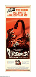 "Movie Posters:Adventure, Dinosaurus! (Universal, 1960). Insert (14"" X 36""). In the seas off a Caribbean island, a frozen T-Rex, Brontosaurus and cave... (1 )"